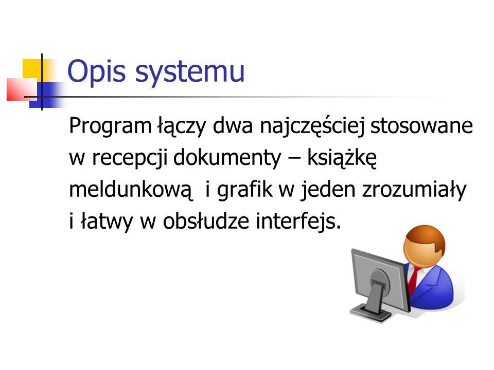 Opis systemu Program łączy dwa najczęściej stosowane