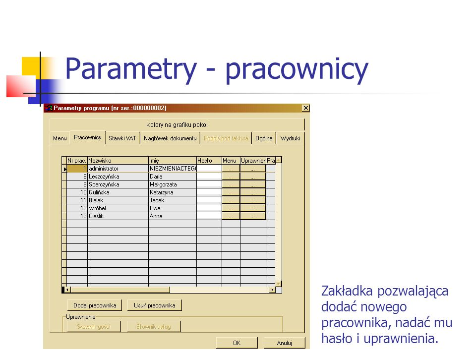 Parametry - pracownicy