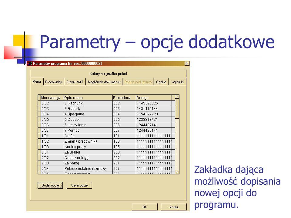 Parametry – opcje dodatkowe