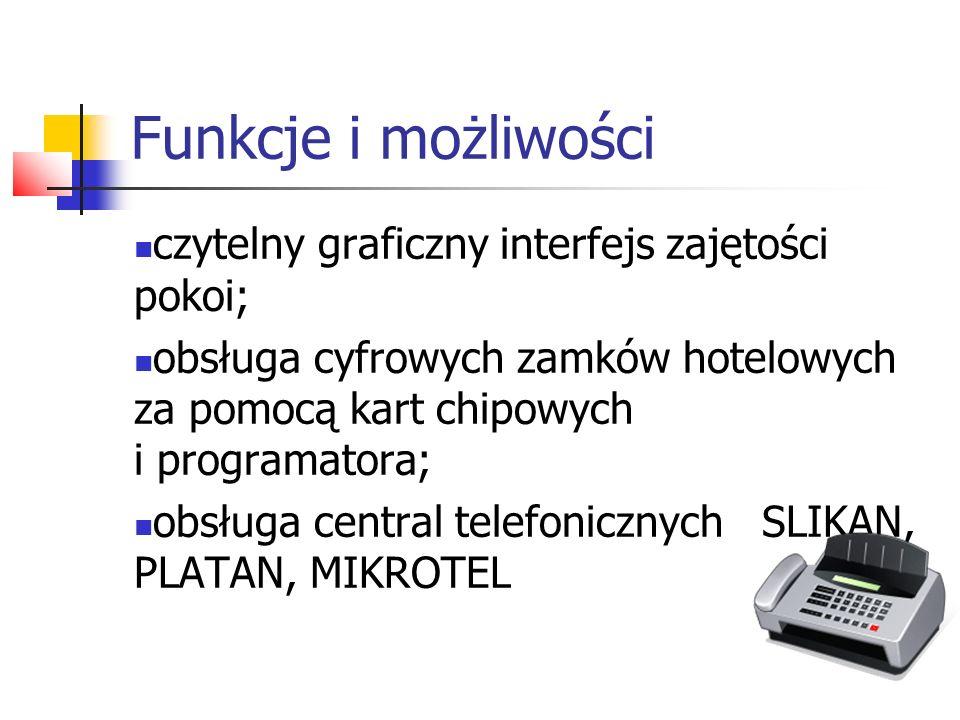 Funkcje i możliwości czytelny graficzny interfejs zajętości pokoi;