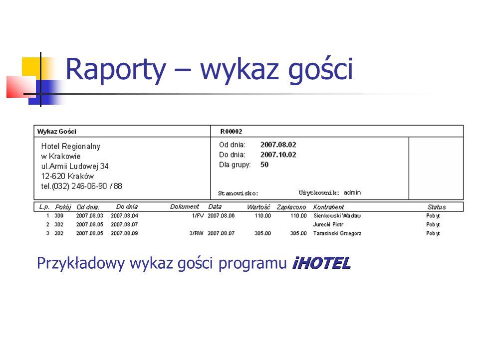 Raporty – wykaz gości Przykładowy wykaz gości programu iHOTEL