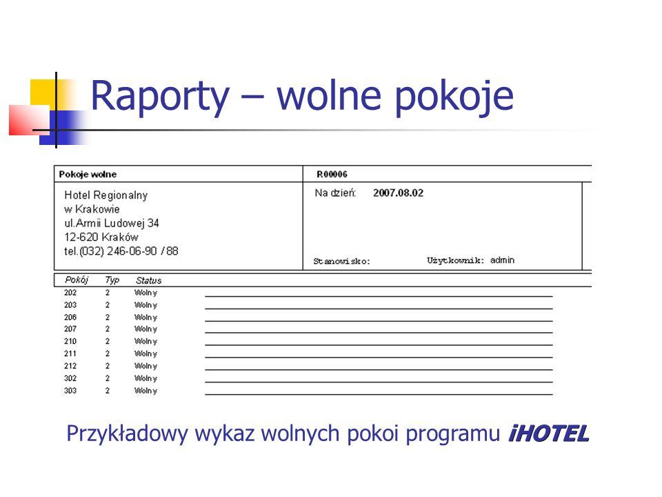 Raporty – wolne pokoje Przykładowy wykaz wolnych pokoi programu iHOTEL