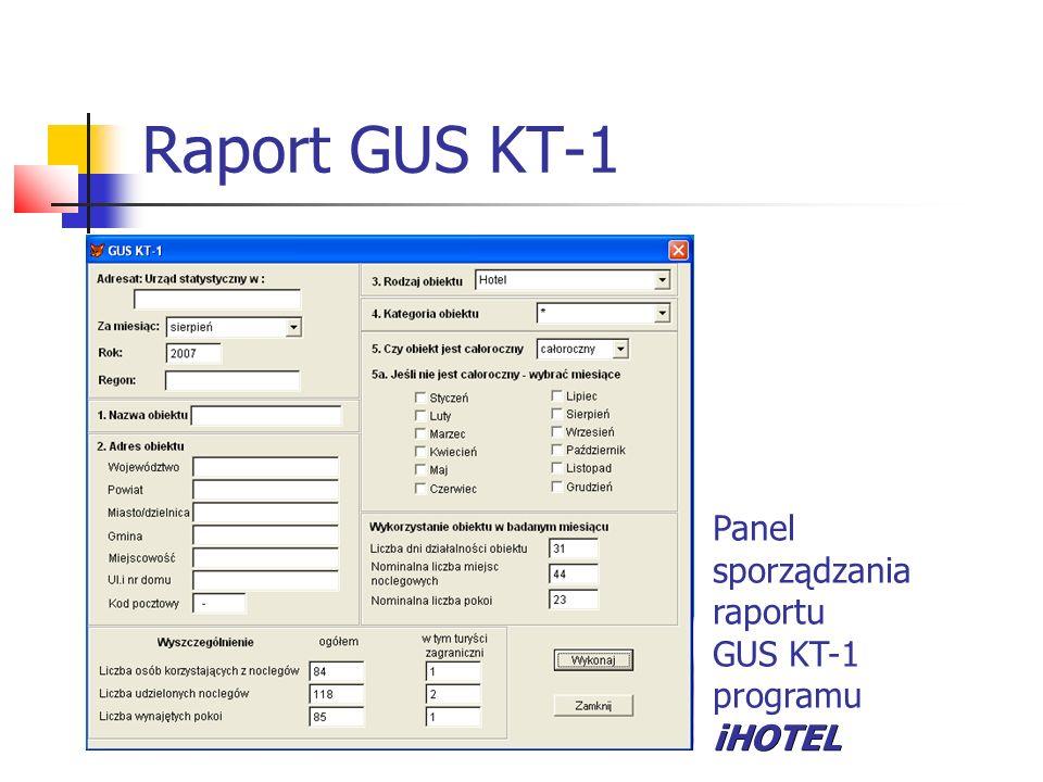 Raport GUS KT-1 Panel sporządzania raportu GUS KT-1 programu iHOTEL