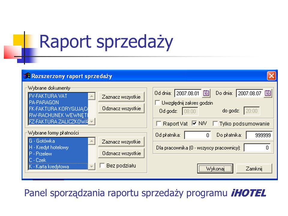 Raport sprzedaży Panel sporządzania raportu sprzedaży programu iHOTEL