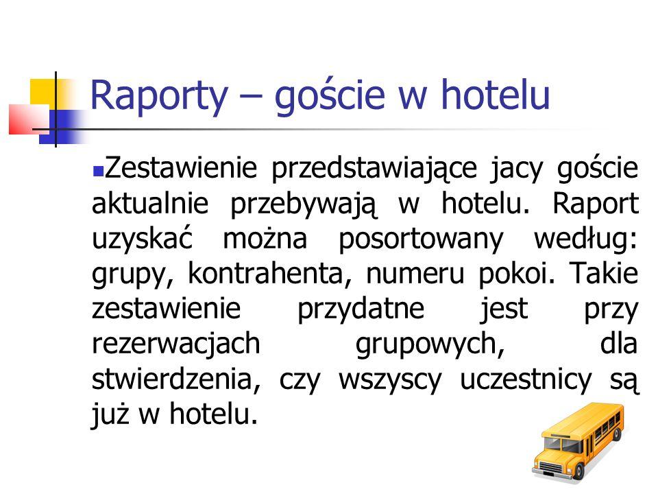 Raporty – goście w hotelu