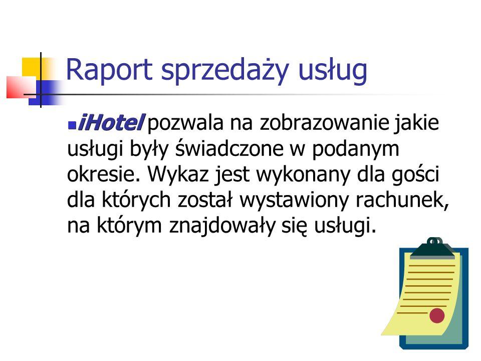 Raport sprzedaży usług