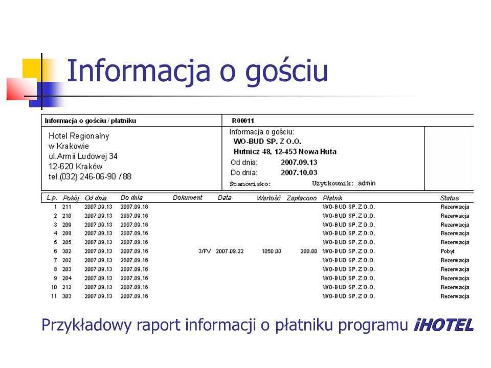 Informacja o gościu Przykładowy raport informacji o płatniku programu iHOTEL