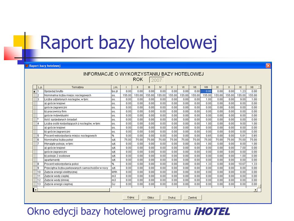 Raport bazy hotelowej Okno edycji bazy hotelowej programu iHOTEL
