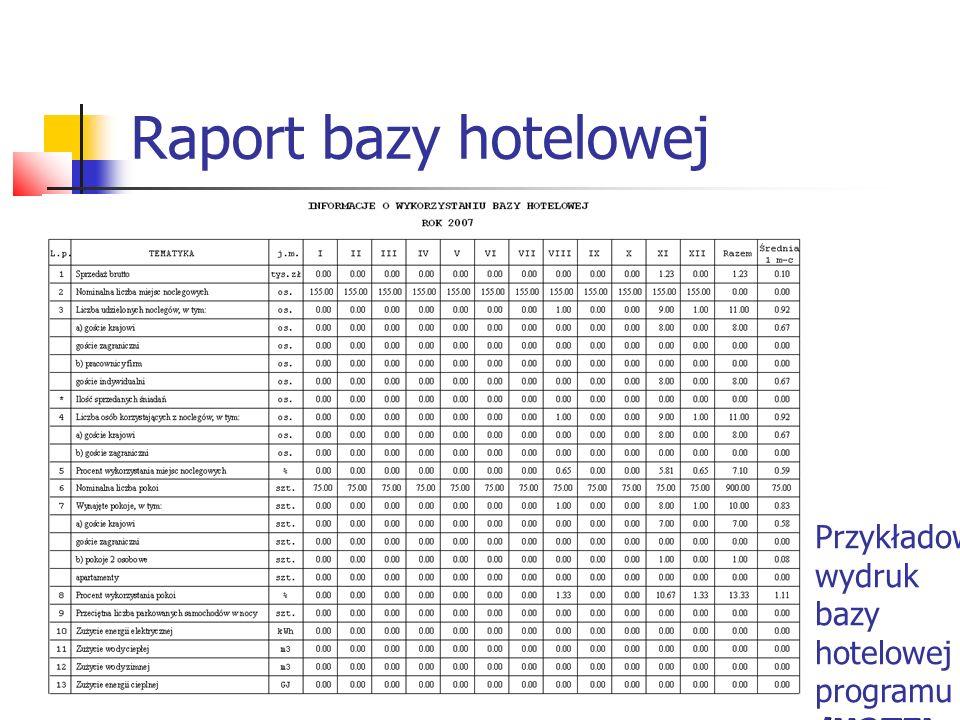 Raport bazy hotelowej Przykładowy wydruk bazy hotelowej programu