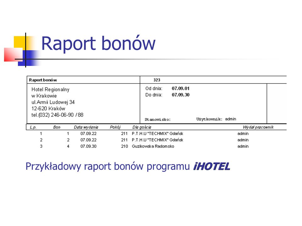 Raport bonów Przykładowy raport bonów programu iHOTEL
