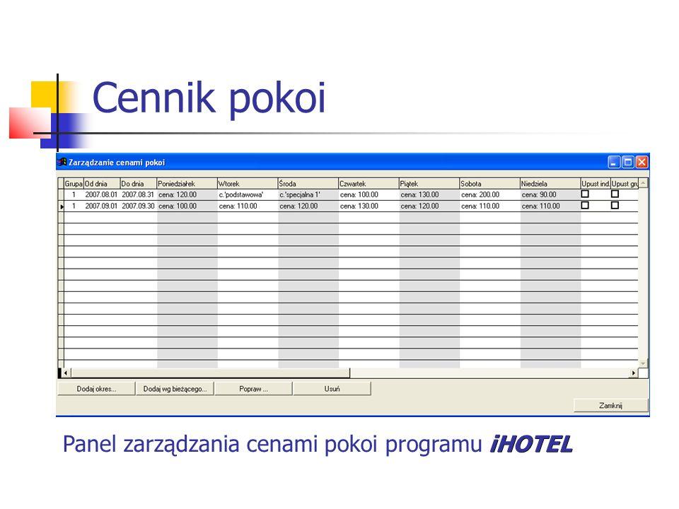 Cennik pokoi Panel zarządzania cenami pokoi programu iHOTEL