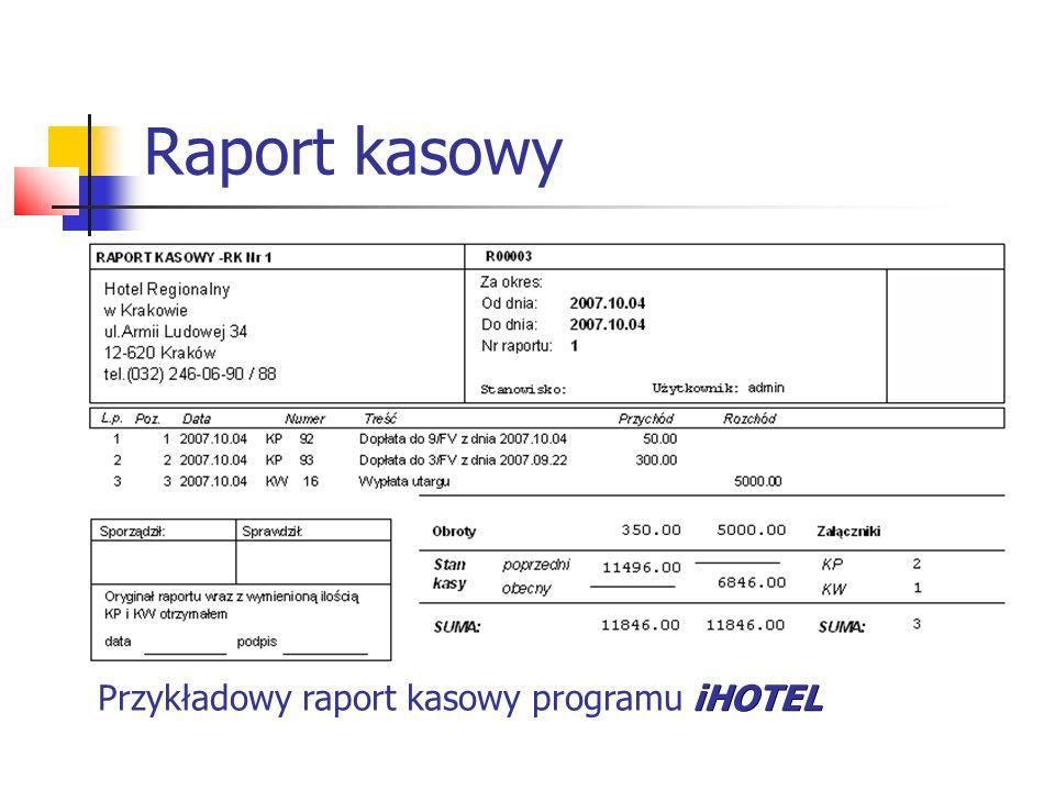 Raport kasowy Przykładowy raport kasowy programu iHOTEL