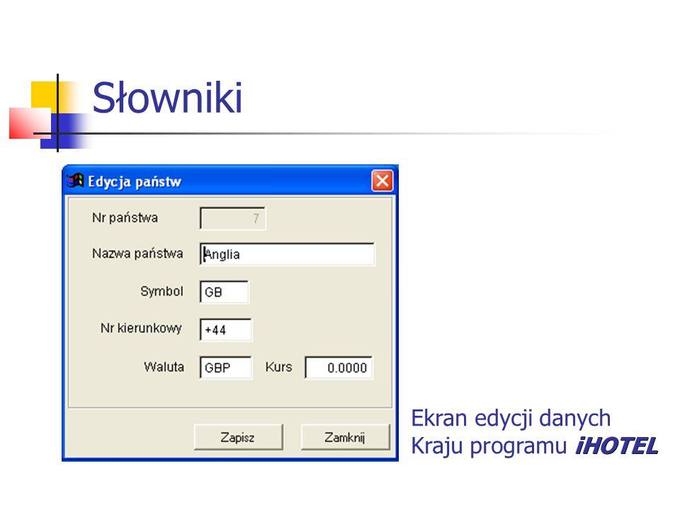 Słowniki Ekran edycji danych Kraju programu iHOTEL