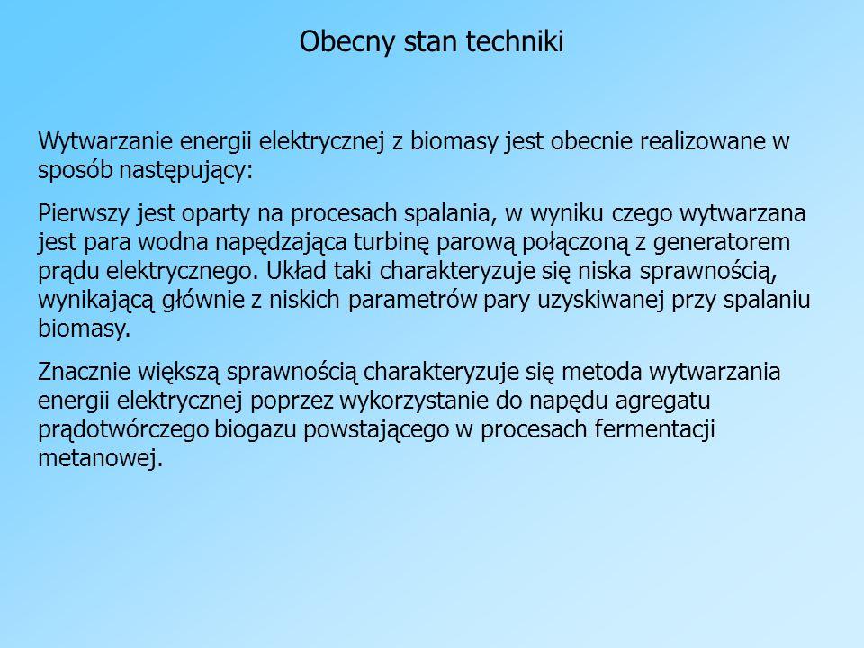 Obecny stan techniki Wytwarzanie energii elektrycznej z biomasy jest obecnie realizowane w sposób następujący: