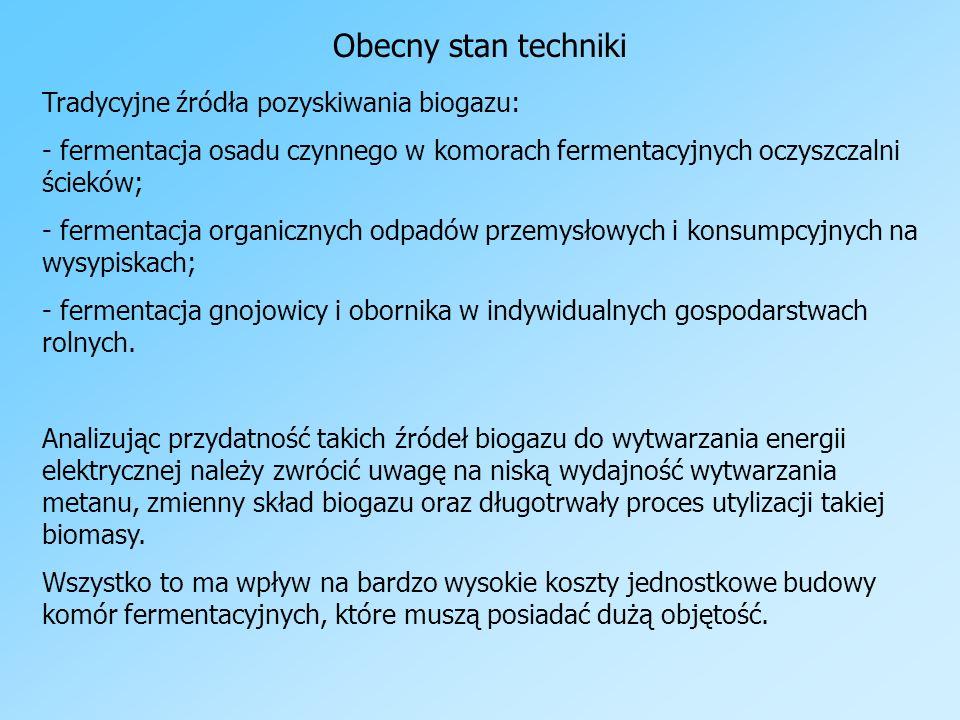 Obecny stan techniki Tradycyjne źródła pozyskiwania biogazu: