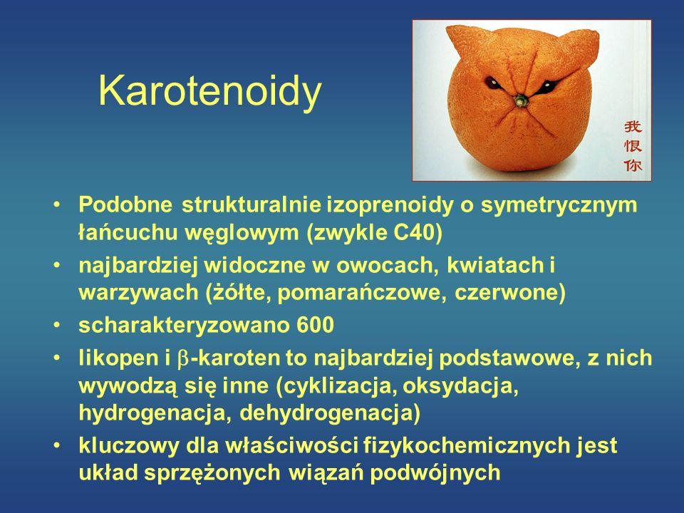 Karotenoidy Podobne strukturalnie izoprenoidy o symetrycznym łańcuchu węglowym (zwykle C40)