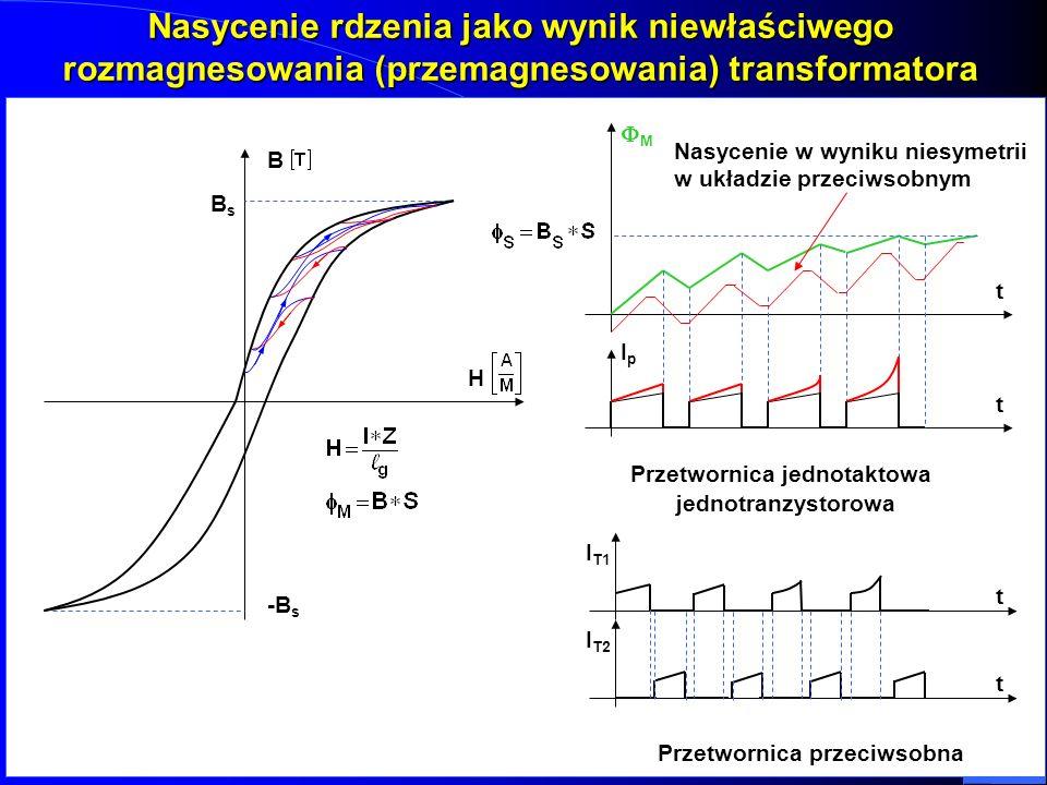 Nasycenie rdzenia jako wynik niewłaściwego rozmagnesowania (przemagnesowania) transformatora