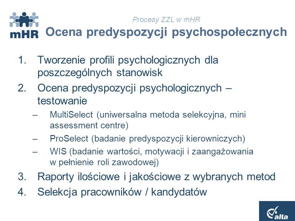 Procesy ZZL w mHR Ocena predyspozycji psychospołecznych