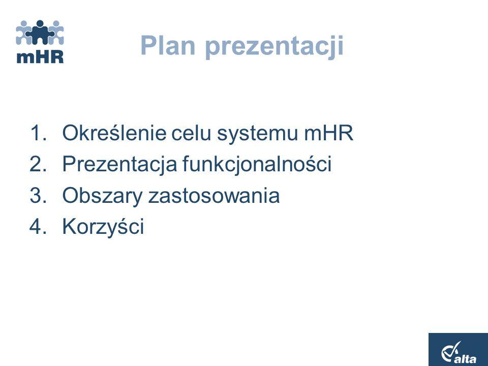 Plan prezentacji Określenie celu systemu mHR