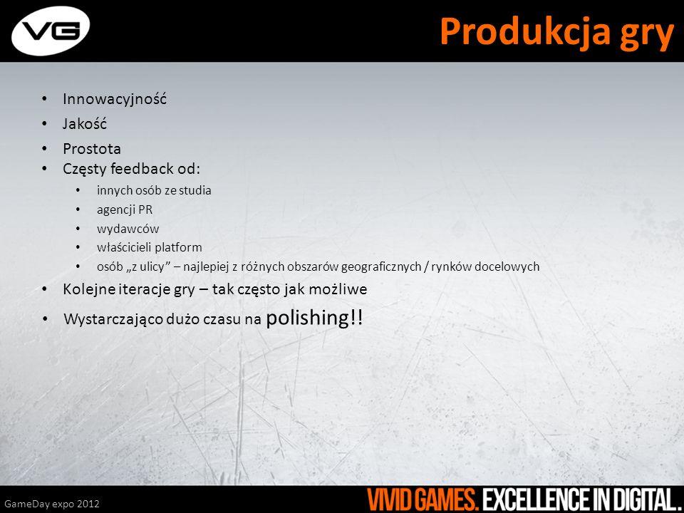 Produkcja gry Innowacyjność Jakość Prostota Częsty feedback od: