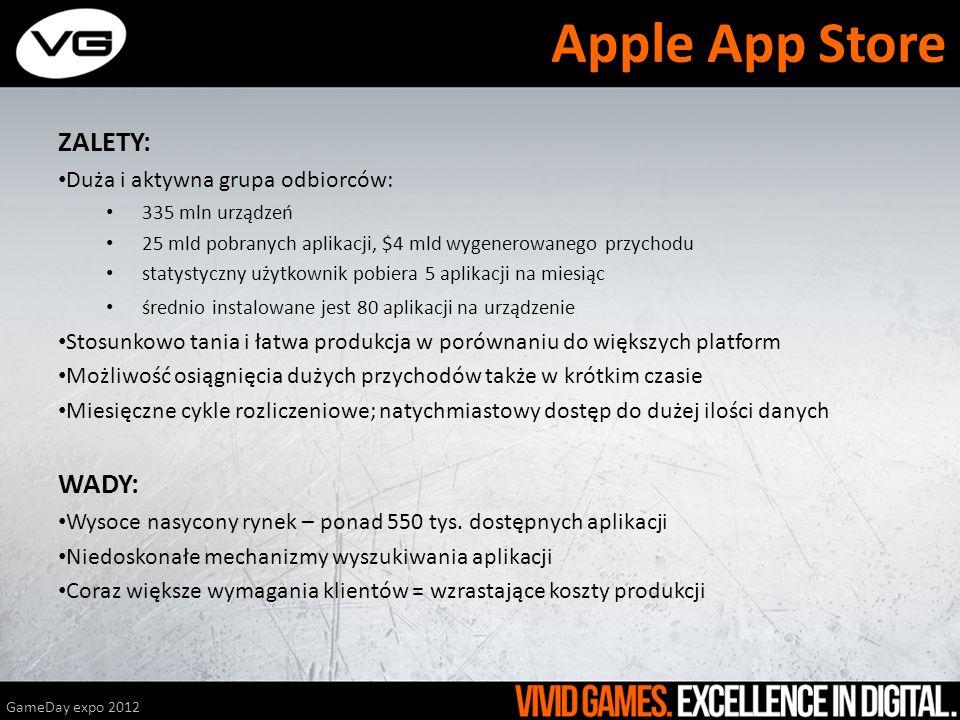 Apple App Store ZALETY: WADY: Duża i aktywna grupa odbiorców: