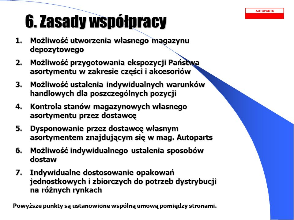 6. Zasady współpracyMożliwość utworzenia własnego magazynu depozytowego.