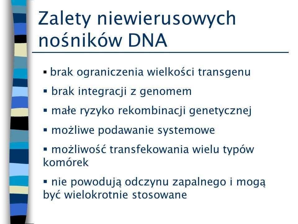 Zalety niewierusowych nośników DNA