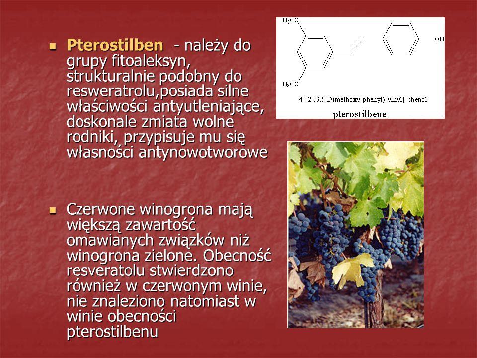 Pterostilben - należy do grupy fitoaleksyn, strukturalnie podobny do resweratrolu,posiada silne właściwości antyutleniające, doskonale zmiata wolne rodniki, przypisuje mu się własności antynowotworowe
