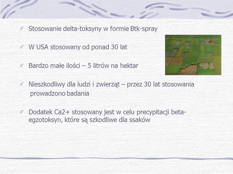 Stosowanie delta-toksyny w formie Btk-spray