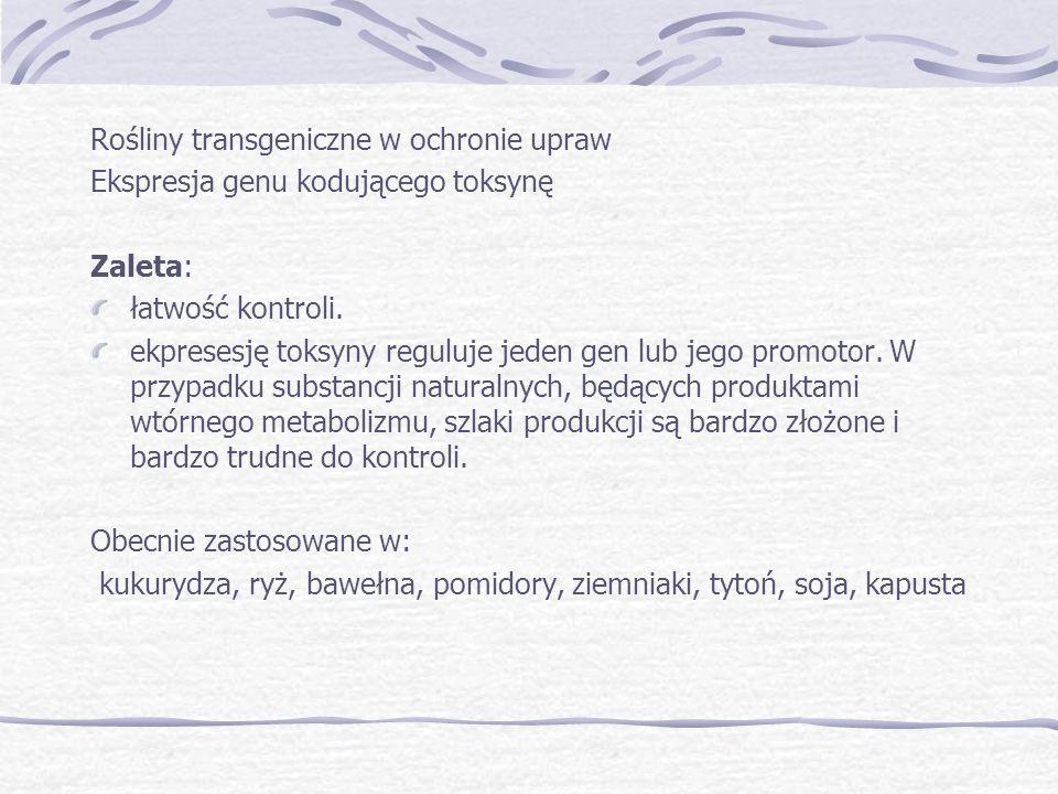 Rośliny transgeniczne w ochronie upraw