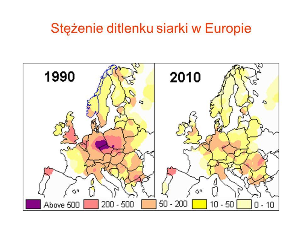 Stężenie ditlenku siarki w Europie