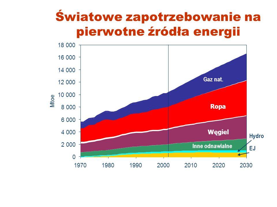 Światowe zapotrzebowanie na pierwotne źródła energii