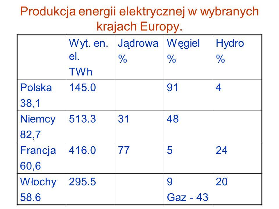 Produkcja energii elektrycznej w wybranych krajach Europy.