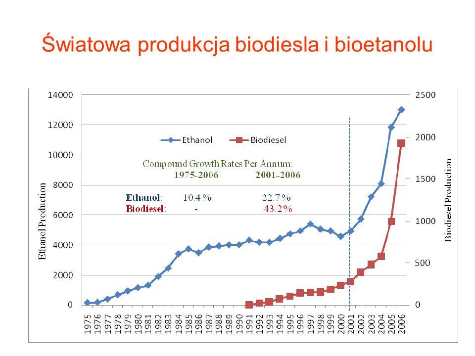 Światowa produkcja biodiesla i bioetanolu