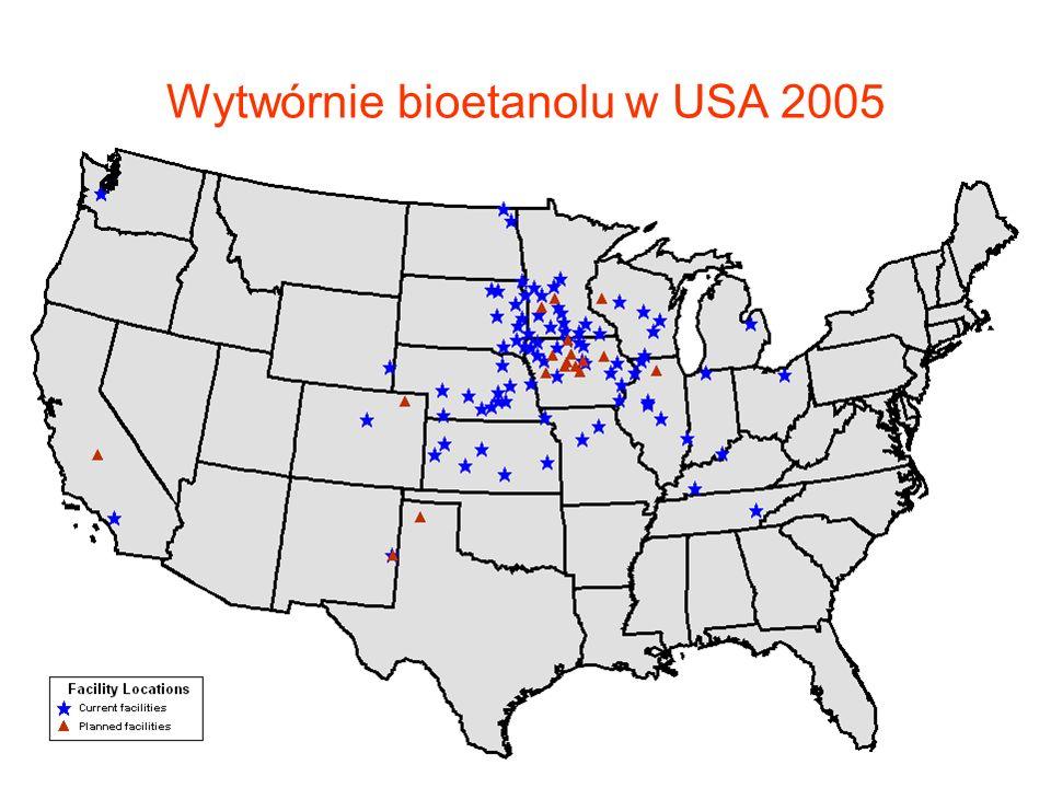 Wytwórnie bioetanolu w USA 2005