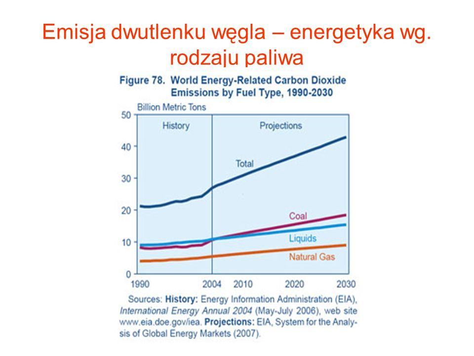 Emisja dwutlenku węgla – energetyka wg. rodzaju paliwa