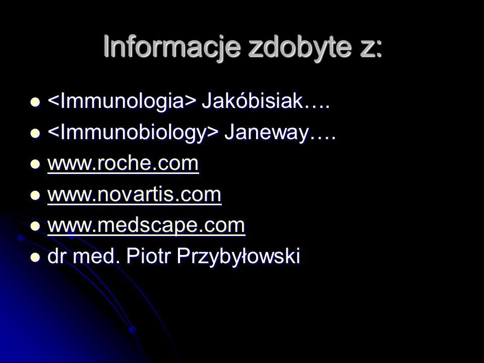Informacje zdobyte z: <Immunologia> Jakóbisiak….