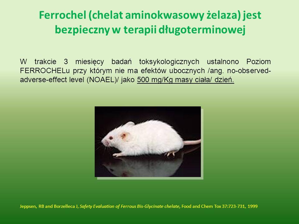 Ferrochel (chelat aminokwasowy żelaza) jest bezpieczny w terapii długoterminowej