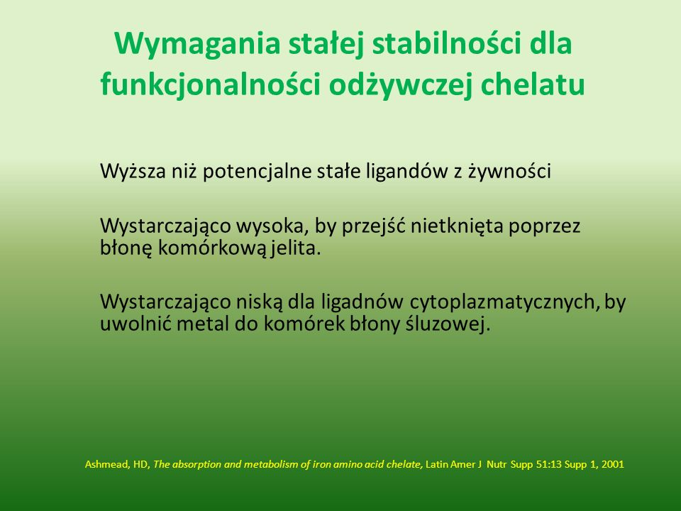 Wymagania stałej stabilności dla funkcjonalności odżywczej chelatu