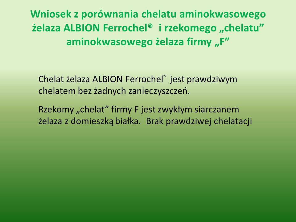 """Wniosek z porównania chelatu aminokwasowego żelaza ALBION Ferrochel® i rzekomego """"chelatu aminokwasowego żelaza firmy """"F"""