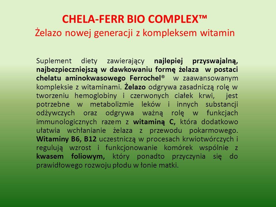 CHELA-FERR BIO COMPLEX™ Żelazo nowej generacji z kompleksem witamin
