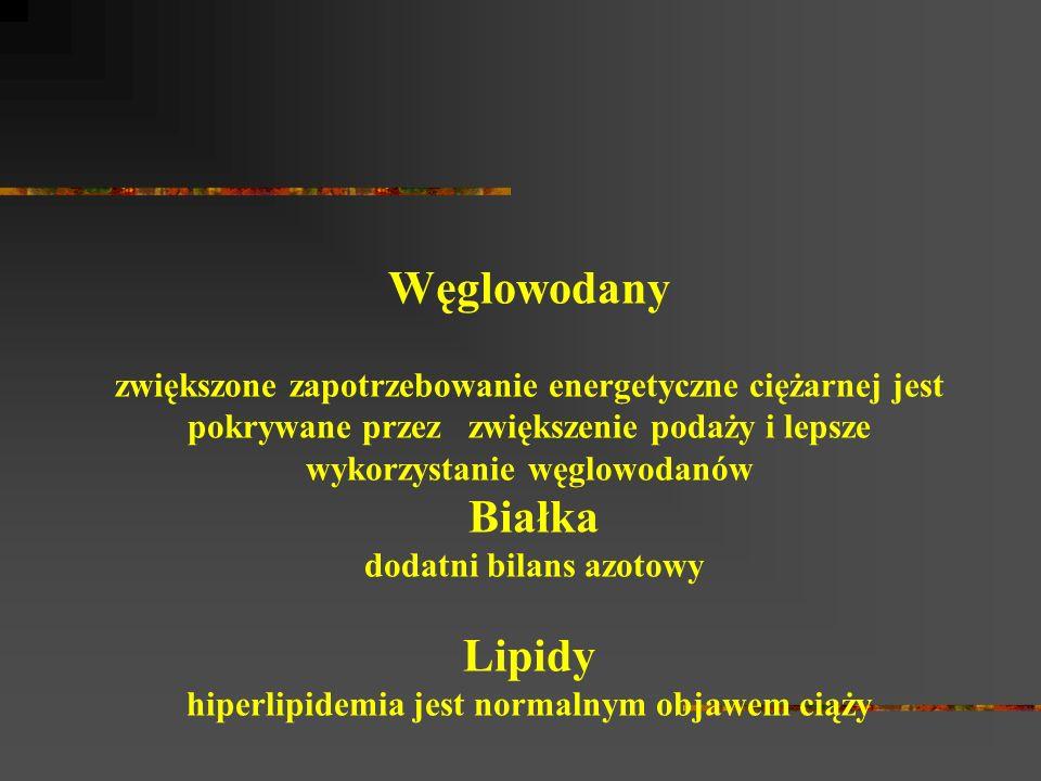 Węglowodany zwiększone zapotrzebowanie energetyczne ciężarnej jest pokrywane przez zwiększenie podaży i lepsze wykorzystanie węglowodanów Białka dodatni bilans azotowy Lipidy hiperlipidemia jest normalnym objawem ciąży