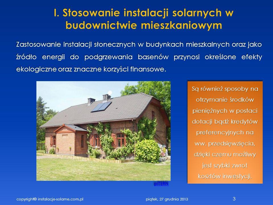 I. Stosowanie instalacji solarnych w budownictwie mieszkaniowym