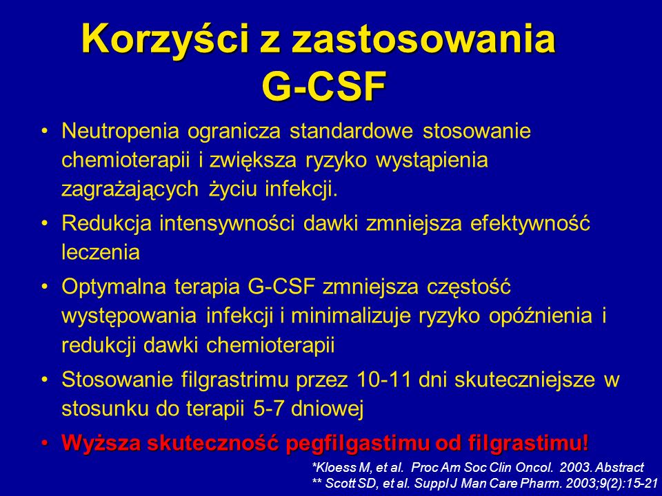 Korzyści z zastosowania G-CSF