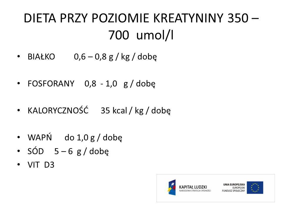 DIETA PRZY POZIOMIE KREATYNINY 350 – 700 umol/l