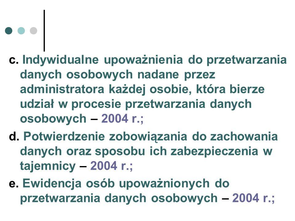 c. Indywidualne upoważnienia do przetwarzania danych osobowych nadane przez administratora każdej osobie, która bierze udział w procesie przetwarzania danych osobowych – 2004 r.;