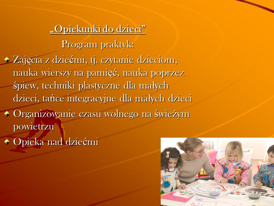 """""""Opiekunki do dzieci Program praktyk:"""