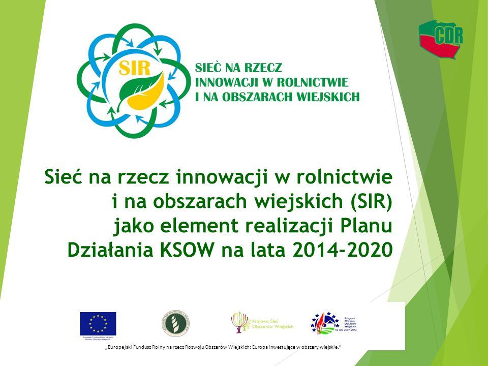 Sieć na rzecz innowacji w rolnictwie i na obszarach wiejskich (SIR) jako element realizacji Planu Działania KSOW na lata 2014-2020