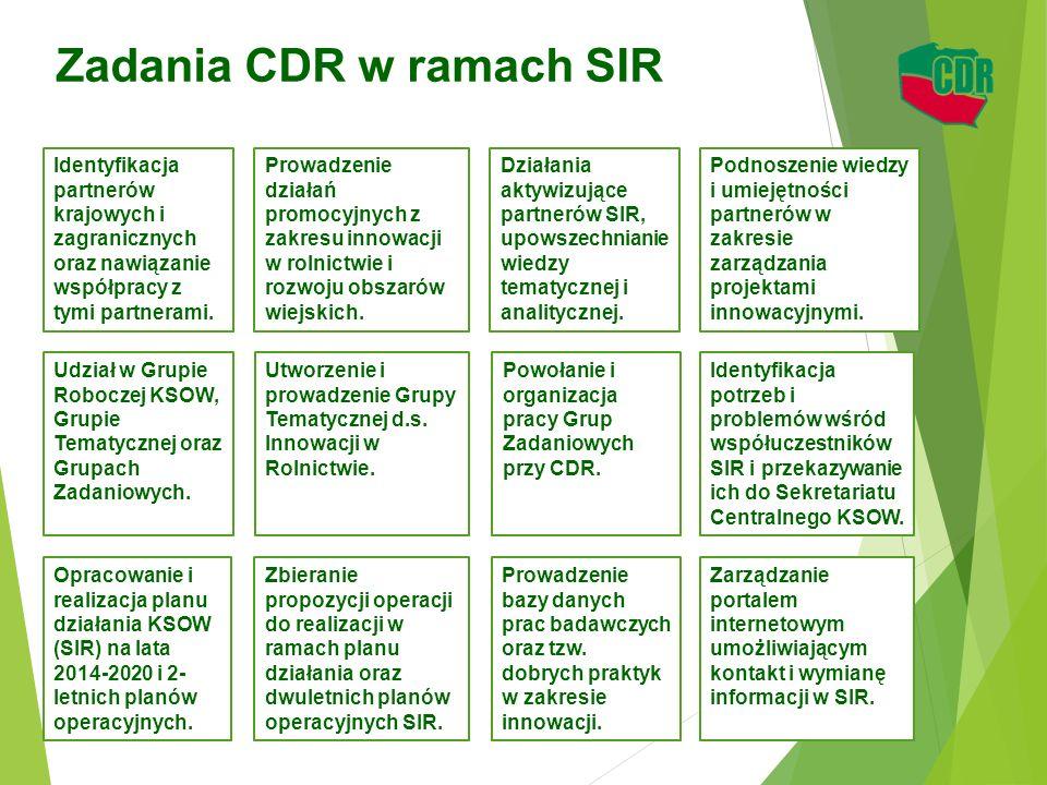 Zadania CDR w ramach SIR