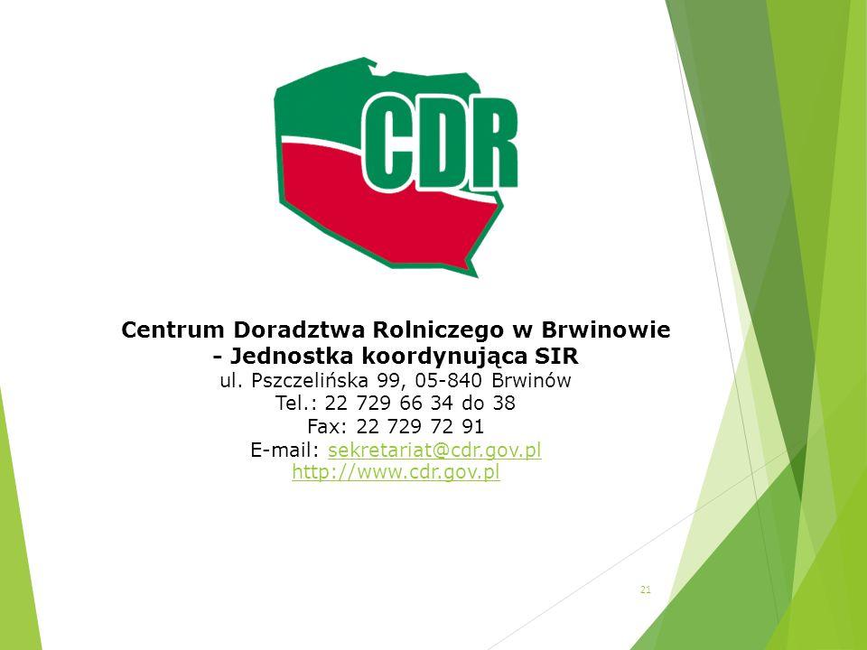 Centrum Doradztwa Rolniczego w Brwinowie - Jednostka koordynująca SIR